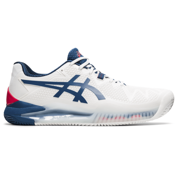Meeste tennisejalats Asics Gel-Resolution 8 Clay M 2021 (White/Mako Blue)