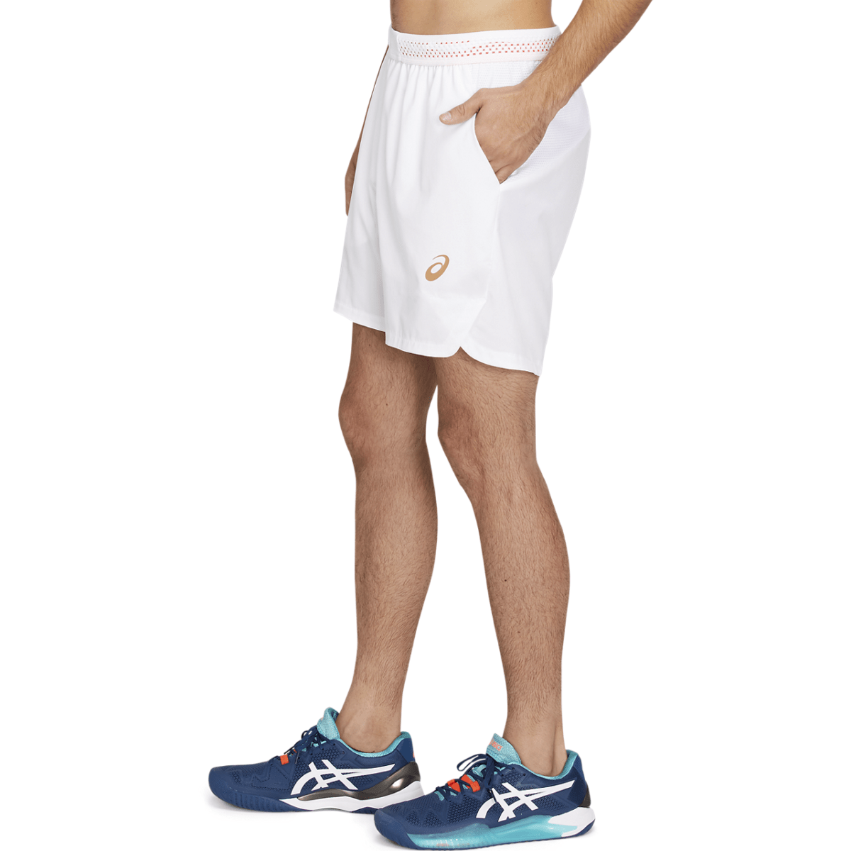 Lühikesed meeste tennisepüksid Asics Tennis M 7in Short 2021 (Brilliant White/Sunrise Red)